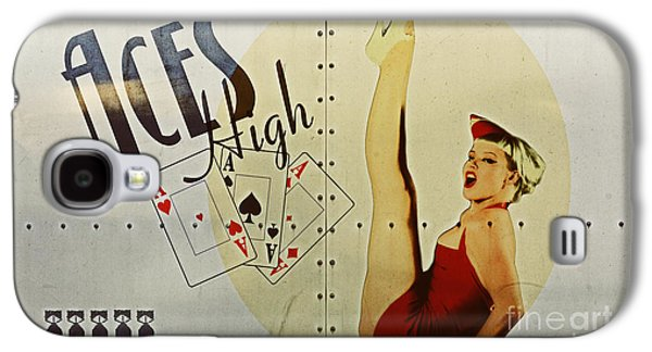 World War 2 Galaxy S4 Cases - Vintage Nose Art Aces High Galaxy S4 Case by Cinema Photography