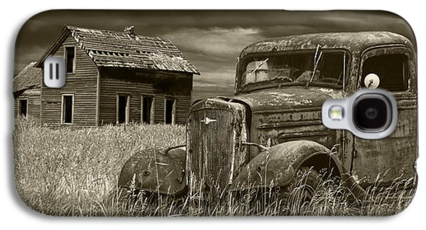 Selenium Galaxy S4 Cases - Vintage Pickup in Sepia Tone by an Abandoned Farm House Galaxy S4 Case by Randall Nyhof