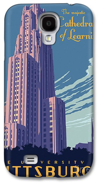 Pittsburgh Galaxy S4 Cases - Vintage Style Cathedral of Learning Travel Poster Galaxy S4 Case by Jim Zahniser