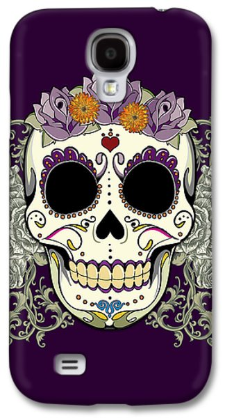 Tattoo Galaxy S4 Cases - Vintage Sugar Skull and Flowers Galaxy S4 Case by Tammy Wetzel