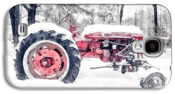 New England Snow Scene Galaxy S4 Cases - Vintage Tractor Christmas Galaxy S4 Case by Edward Fielding