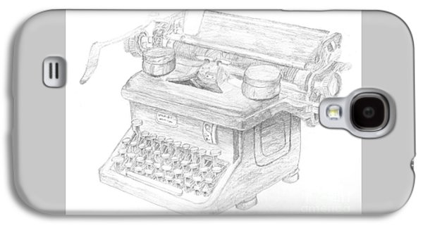 Drawing Galaxy S4 Cases - Vintage Typewriter Sketch Galaxy S4 Case by Caffrey Fielding