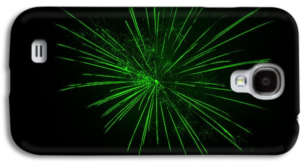 Pyrotechnics Galaxy S4 Cases - Vivid Green Fireworks Explosion Galaxy S4 Case by John Stephens
