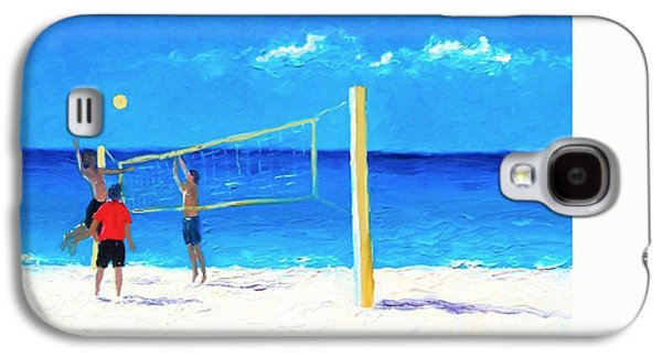 Volley Galaxy S4 Cases - Volleyball beach painting Galaxy S4 Case by Jan Matson