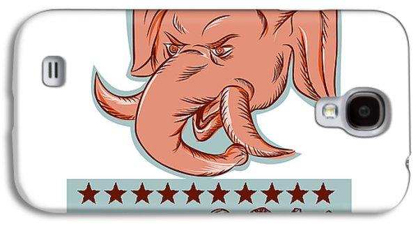 Boxer Galaxy S4 Cases - Vote 2016 Republican Elephant Mascot Head Etching Galaxy S4 Case by Aloysius Patrimonio