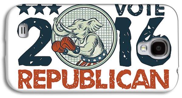 Boxer Galaxy S4 Cases - Vote Republican 2016 Elephant Boxer Circle Etching Galaxy S4 Case by Aloysius Patrimonio