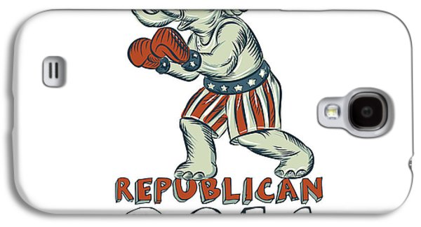 Boxer Galaxy S4 Cases - Vote Republican 2016 Elephant Boxer Isolated Etching Galaxy S4 Case by Aloysius Patrimonio