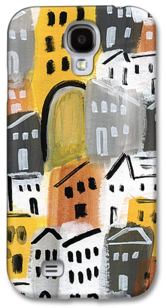 Buildings Mixed Media Galaxy S4 Cases - Waiting For Autumn- expressionist art Galaxy S4 Case by Linda Woods