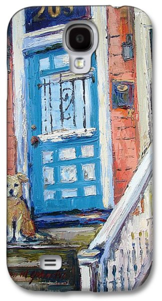 Dog On Front Steps. Galaxy S4 Cases - Waiting for his Master Galaxy S4 Case by Karen Mayer Johnston