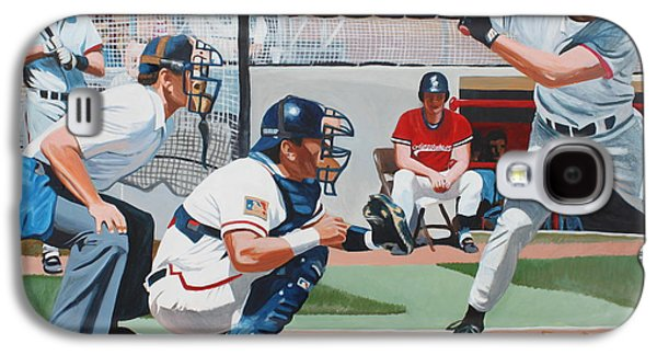 Baseball Stadiums Paintings Galaxy S4 Cases - Waiting for the Ball Galaxy S4 Case by Clinton Helms