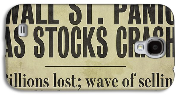 Depression Paintings Galaxy S4 Cases - Wall Street Crash 1929 Newspaper Galaxy S4 Case by Mindy Sommers