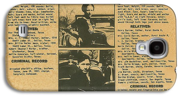 Wanted Poster - Bonnie And Clyde 1934 Galaxy S4 Case by F B I