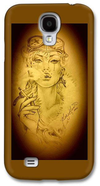 Aviator Drawings Galaxy S4 Cases - War Witch Galaxy S4 Case by Kelly Geister