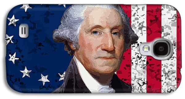 George Washington Galaxy S4 Cases - Washington and The American Flag Galaxy S4 Case by War Is Hell Store