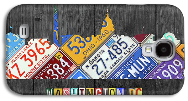 Washington Dc Skyline Recycled Vintage License Plate Art Galaxy S4 Case by Design Turnpike