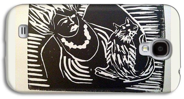 Linocut Paintings Galaxy S4 Cases - Watch Cat Galaxy S4 Case by Toby Finkelstein
