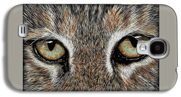 Bobcats Drawings Galaxy S4 Cases - Watching You - bobcat Galaxy S4 Case by Lynn Kibbe