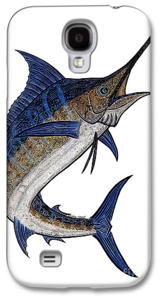 Marlin Galaxy S4 Cases - Water Color Tribal Marlin III Galaxy S4 Case by Carol Lynne