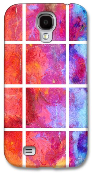 Blue Abstracts Galaxy S4 Cases - Water Fire Abstract Grid 5 Galaxy S4 Case by Edward Fielding