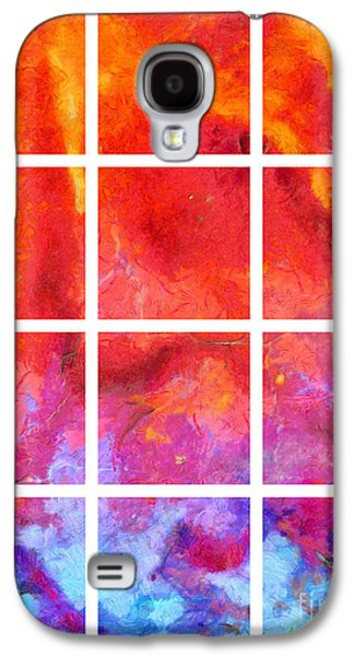 Blue Abstracts Galaxy S4 Cases - Water Fire Abstract Grid Galaxy S4 Case by Edward Fielding