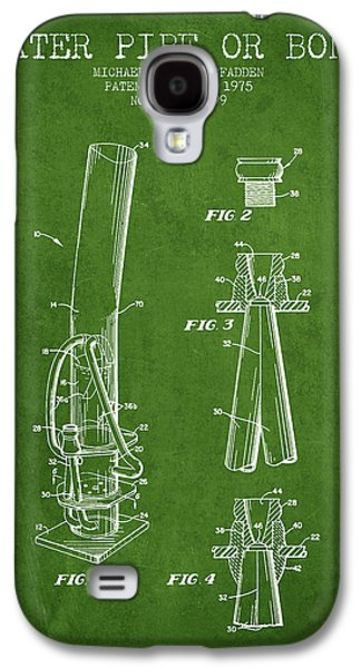 Weed Digital Galaxy S4 Cases - Water Pipe or Bong Patent 1975 - Green Galaxy S4 Case by Aged Pixel