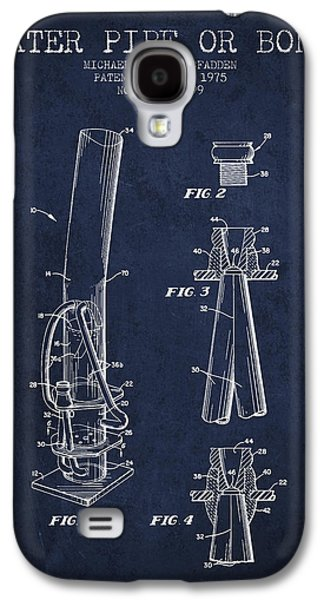 Weed Digital Galaxy S4 Cases - Water Pipe or Bong Patent 1975 - Navy Blue Galaxy S4 Case by Aged Pixel
