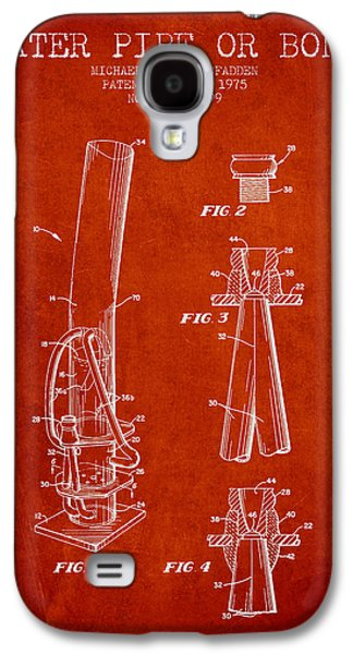 Weed Digital Art Galaxy S4 Cases - Water Pipe or Bong Patent 1975 - Red Galaxy S4 Case by Aged Pixel