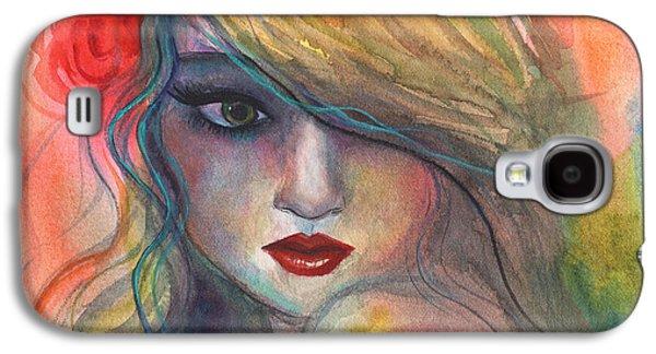 Girl Galaxy S4 Cases - Watercolor girl portrait with flower Galaxy S4 Case by Svetlana Novikova