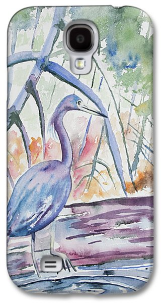 Watercolor - Little Blue Heron In Mangrove Forest Galaxy S4 Case by Cascade Colors
