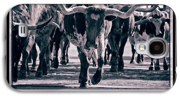 Cattle Drive Photographs Galaxy S4 Cases - Watercolor Longhorns 2015 Galaxy S4 Case by Joan Carroll