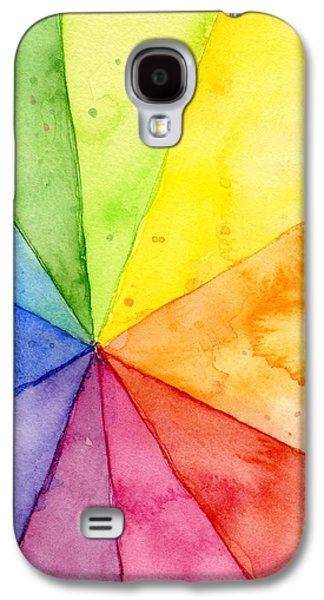 Geometric Shape Galaxy S4 Cases - Watercolor Rainbow Beachball Pattern Galaxy S4 Case by Olga Shvartsur