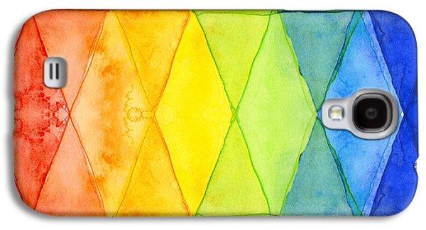 Simplistic Galaxy S4 Cases - Watercolor Rainbow Pattern Geometric Shapes Triangles Galaxy S4 Case by Olga Shvartsur