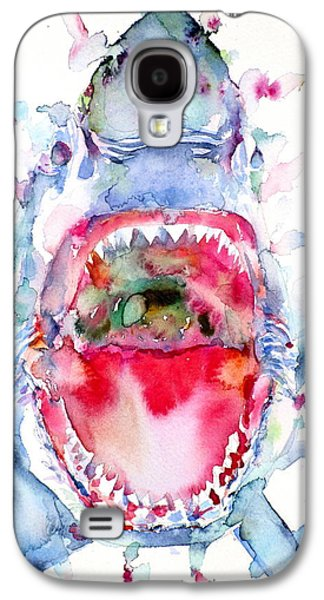 Shark Paintings Galaxy S4 Cases - Watercolor Shark Galaxy S4 Case by Fabrizio Cassetta