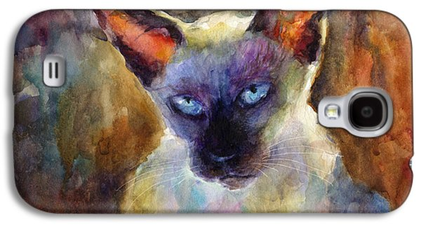 Watercolor Drawings Galaxy S4 Cases - Watercolor siamese cat painting Galaxy S4 Case by Svetlana Novikova