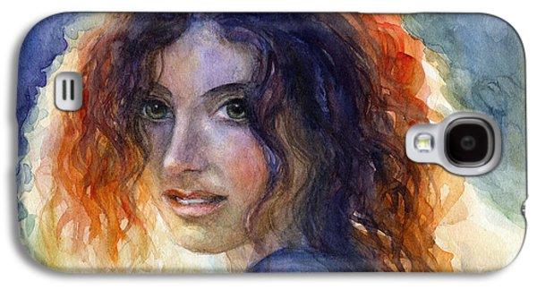 Watercolor Drawings Galaxy S4 Cases - Watercolor Sunlit Woman Portrait 2 Galaxy S4 Case by Svetlana Novikova