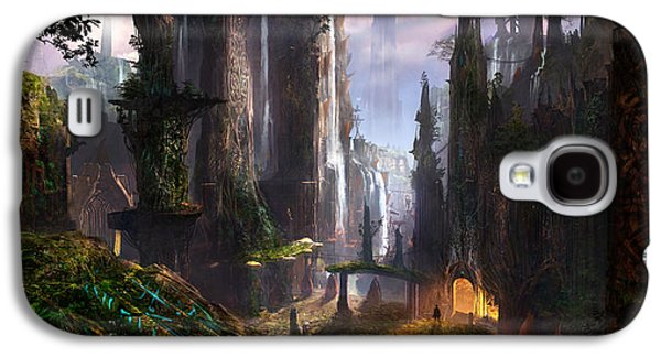 Digital Design Galaxy S4 Cases - Waterfall Celtic Ruins Galaxy S4 Case by Alex Ruiz