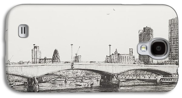 Pen And Ink Drawing Drawings Galaxy S4 Cases - Waterloo Bridge Galaxy S4 Case by Vincent Alexander Booth