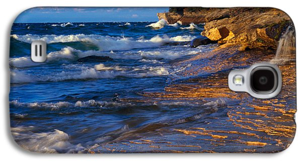 Contemplative Photographs Galaxy S4 Cases - Waves Along Lake Michigan Shoreline Galaxy S4 Case by Panoramic Images