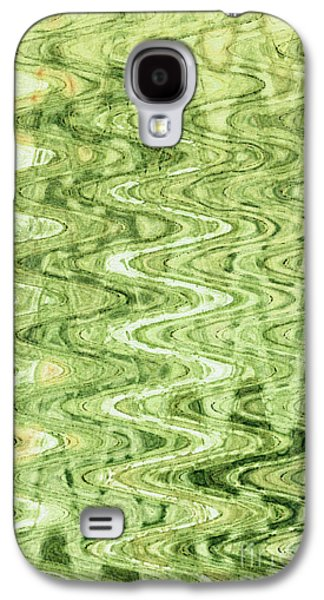 Abstract Digital Tapestries - Textiles Galaxy S4 Cases - Waves Celadon Galaxy S4 Case by FabricWorks Studio