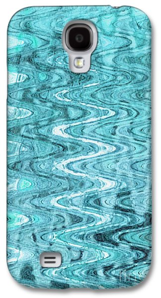 Abstract Digital Tapestries - Textiles Galaxy S4 Cases - Waves Blue Galaxy S4 Case by FabricWorks Studio
