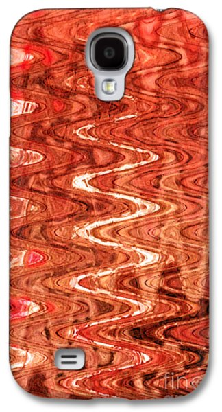 Abstract Digital Tapestries - Textiles Galaxy S4 Cases - Waves Saffron Galaxy S4 Case by FabricWorks Studio