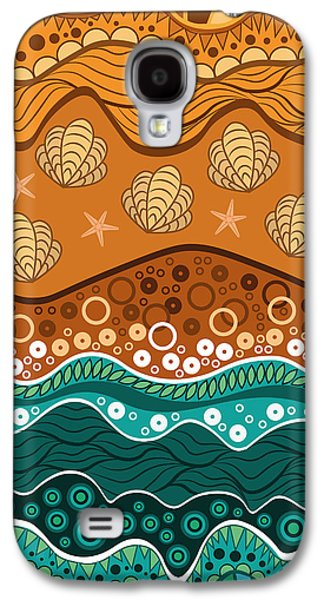 Blue Abstracts Galaxy S4 Cases - Waves Galaxy S4 Case by Veronica Kusjen