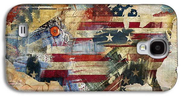 Constitution Galaxy S4 Cases - We The People Map America Galaxy S4 Case by Mindy Sommers