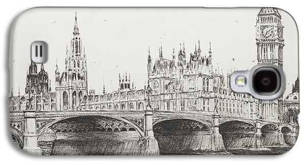 Pen And Ink Drawing Drawings Galaxy S4 Cases - Westminster Bridge Galaxy S4 Case by Vincent Alexander Booth