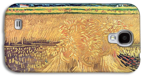 Field. Cloud Paintings Galaxy S4 Cases - Wheatfield with Sheaves Galaxy S4 Case by Vincent van Gogh