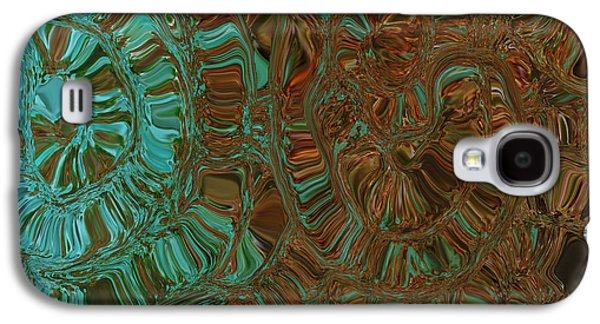 Abstract Digital Mixed Media Galaxy S4 Cases - Wheels of Time Galaxy S4 Case by Bonnie Bruno