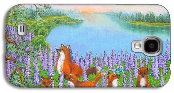 Fox Kit Paintings Galaxy S4 Cases - Where Bloom Lupines Galaxy S4 Case by Loreta Mickiene