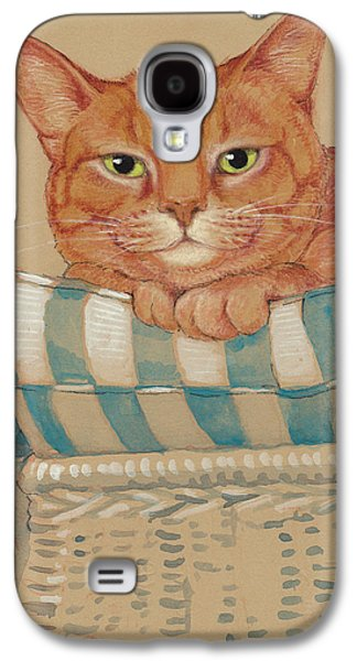 Orange Tabby Paintings Galaxy S4 Cases - Wheres My Daiquiri? Galaxy S4 Case by Tracie Thompson
