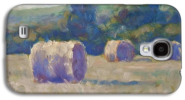 Hay Bales Paintings Galaxy S4 Cases - ...While the Sun Shines Galaxy S4 Case by Michael Camp