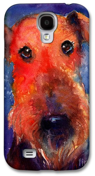 Austin Drawings Galaxy S4 Cases - Whimsical Airedale Dog painting Galaxy S4 Case by Svetlana Novikova
